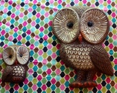 Momma and Baby Owl Wall Hanging Set of 2