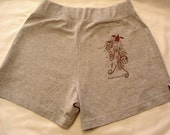 Ruby Red Swimming Turtle on Cotton Shorts