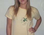 Green Turtle Prints on Organic Cotton Yellow Tshirt