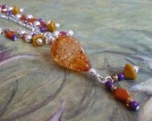 Beaded Necklace Recycled Retro Colors Amber, Mustard, Brick