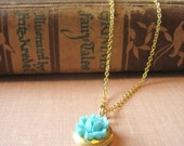 necklace -- flower locket. bleu. teal.