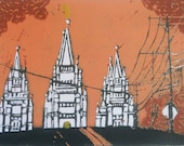 Orange Sky Salt Lake Temple Lino-Cut 8 x 10
