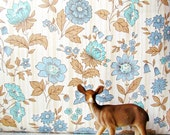 RESERVED FOR KELLIE Vintage Woodland Blue Floral Wallpaper 18 Yards