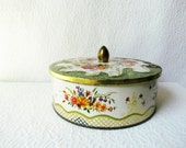 RESERVED for E Rustic English Floral Candy TIn