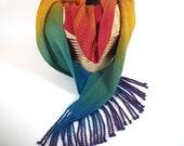 Handwoven Scarf 'Rainbow Cascade' - multicolor soft woven accessory