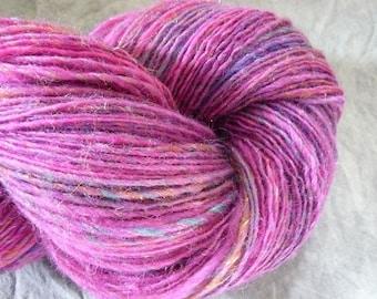"Handspun Yarn Fingering Shetland/Silk 400 yds. ""Magenta"""
