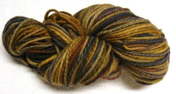 Handspun 'Stone' Worsted yarn brown tones self striping polwarth 170 yards