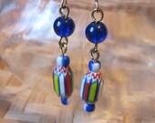 CHEVRON and COBALT Blue Glass Beaded Handmade Earrings Great Gift Idea Under 10.00