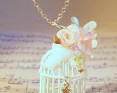 Faith Birdcage Pendant on Sterling Silver Chain