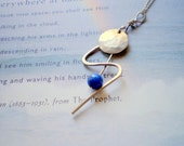 Thunderbolt Lapis And Sterling Silver  Hammered Necklace  on Vintage Silver Chain