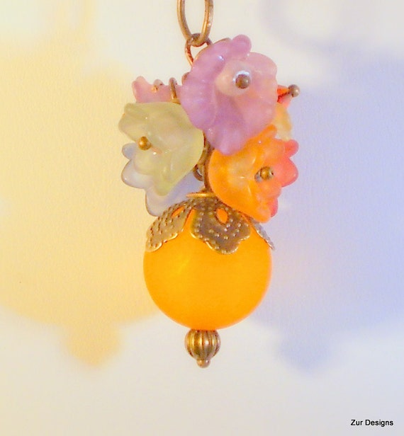 Autumn Bouquet  Vintage Style Necklace With Swarovski Crystals and Lucite Flowers