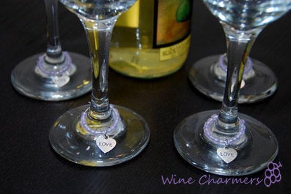 Set of 4 Purple Love Wine Charms-READY TO SHIP