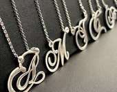SALE -Monogrammed STERLING SILVER NECKLACE ( choose your initial)
