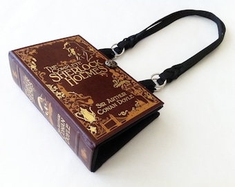 Sherlock Holmes Book Purse - Sherlock 221B Baker Street Wallpaper Fabric Choice - Sherlock Book Cover Handbag
