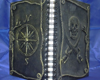 Gold Pirate Journal w/ Jolly Roger and Compass Rose