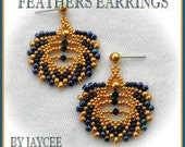 Beading tutorial - Feathers earring - peyote stitch