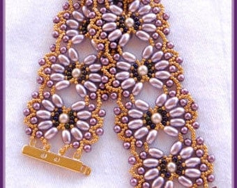 Beading Tutorial - Pearl filigree bracelet - Netting stitch - Oval pearl patterns