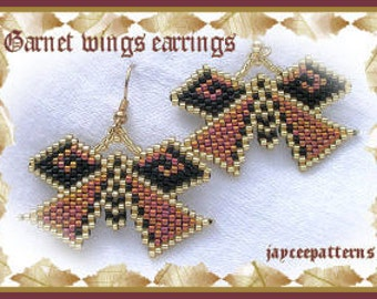 Beaded Earring Pattern - Garnet wings earrings - Brick stitch
