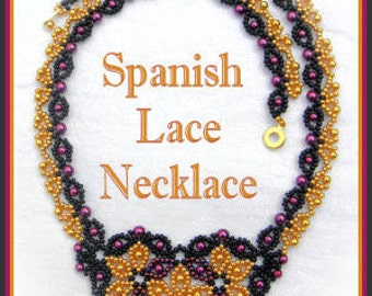 Beading Tutorial - Spanish Lace necklace - Netting stitch