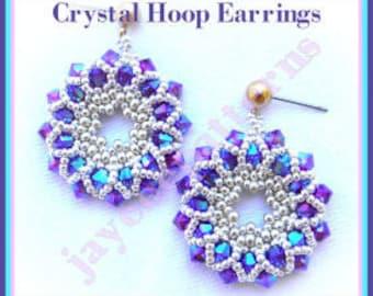 Beading Tutorial - Crystal Hoop earrings - Netting stitch