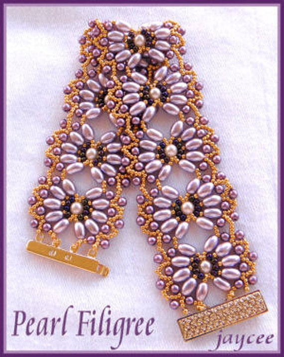 beading tutorial pearl filigree bracelet netting stitch