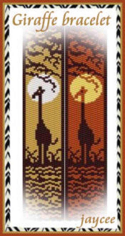 Giraffe bracelet PATTERN- 2 drop peyote