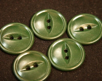 Lot of 10 vintage 1950s unused dark olive green plastic buttons for your sewing prodject