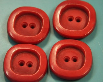 Lot of 4 vintage 1960s unused clear red plastic buttons for your sewing prodjects