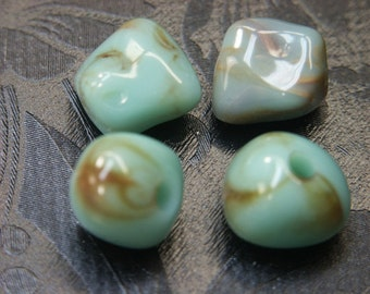 Lot of 4 larger vintage 1970s swirled light turqouise bluegreen irregular plastic beads for your jewelry prodjects