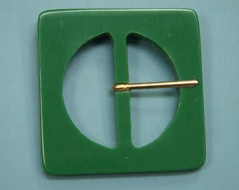 Vintage 1950s unused square grass green plastic buckle for your sewing prodjects