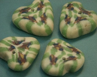 Lot of 6 vintage 1970s handworked green and white fimo polymer clay heart charm pendants with holes