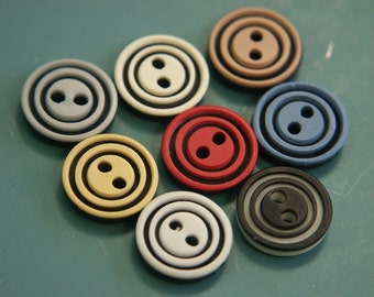 Lot of 8 small vintage 1960s unused multicolor plastic buttons for your sewing prodjects