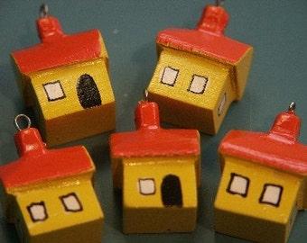 Lot of 8 funny unusual handworked handpainted vintage 1970s yellow/orange unused wood house charms/pendants