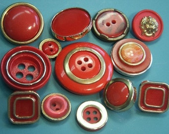 Lot of 13 vintage 1960s unused mixed clear red plastic buttons for your sewing/ decoration prodjects