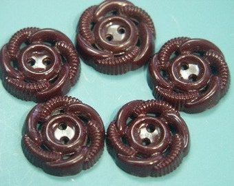 Lot of 10 vintage 1950s  unused vineredplastic flower buttons for your sewing prodjects