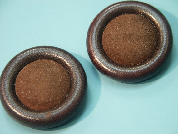 Lot of 2 large unusual vintage 1960s handworked dark brown real leather buttons for your sewing prodjects