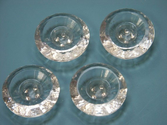 Lot of 4 lovely X-large vintage 1950s unused translucent glass buttons for your sewing prodjects