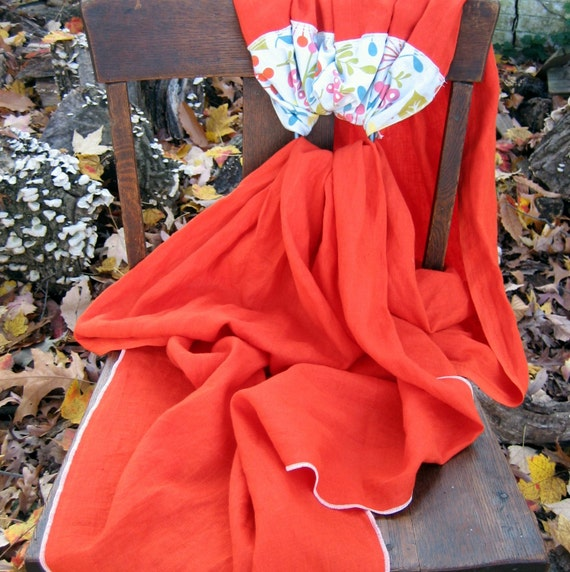 READY TO SHIP Clementine Linen Ring Sling Reversible Features Rare Japanese Import and Gathered Shoulder