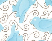 Moda Birdie Fabric - Teal Birds of a Feather 22116-11