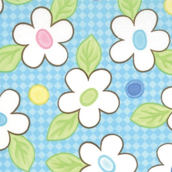 Moda Birdie Fabric - Teal Happy Flowers 22111-11