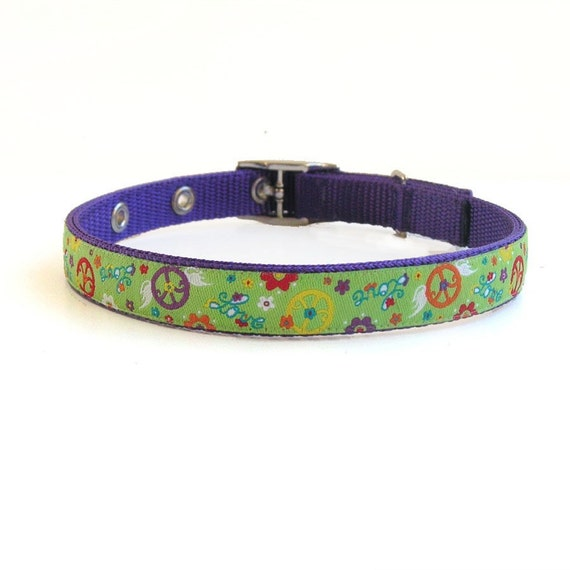 peace and love dog or cat collar