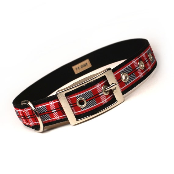 SALE - killarney plaid metal buckle dog collar (1 inch)
