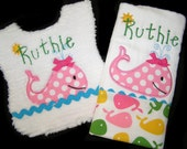 Personalized Baby Gift Set - Appliqued Bib and Burp Cloth - Pink Whale - White Chenille - Reversible