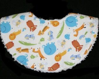 Animals - Teething Tots - White Chenille - Waterproof Bib