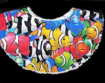 Clownin' Around - Teething Tots - Waterproof Baby Bib - White Chenille - Looks 3D