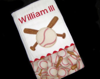 Personalized Baby Burp Cloth - Appliqued Baseball and Bat - Batter Up