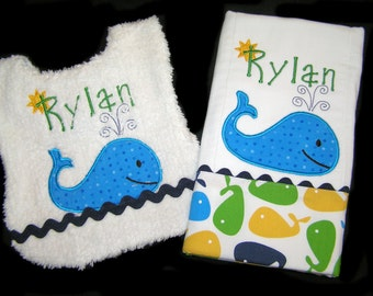 Personalized Handmade Baby Gift Set - Appliqued Bib and Burp Cloth - Whale - White Chenille - Reversible - Moby