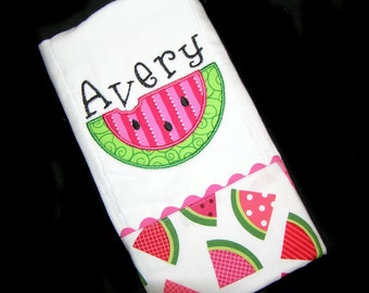 Personalized Baby Burp Cloth - Appliqued Watermelon