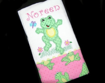 Personalized Baby Burp Cloth - Appliqued Green Frog