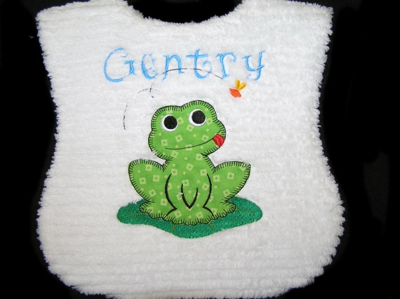 Personalized Baby Bib - Appliqued Green Frog - Handmade - White Chenille - Reversible - Lunch Time